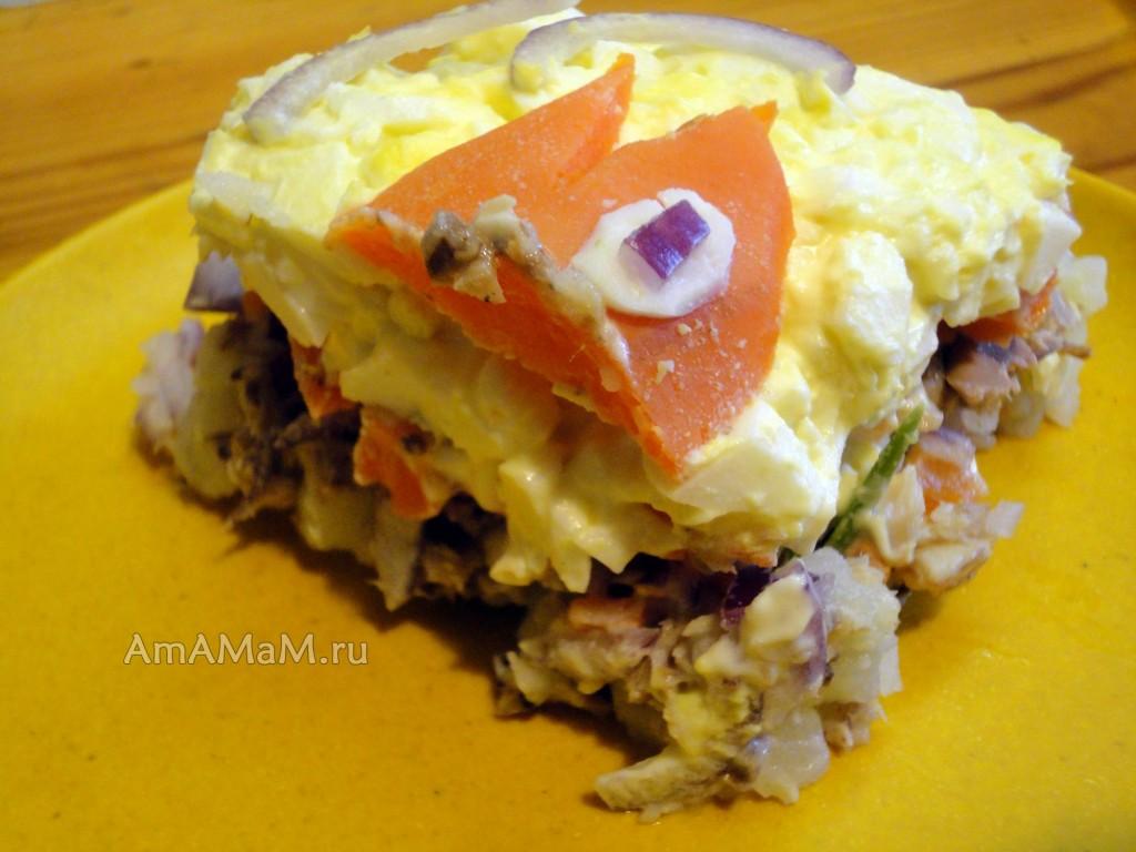 Фото салата из консервированной рыбки