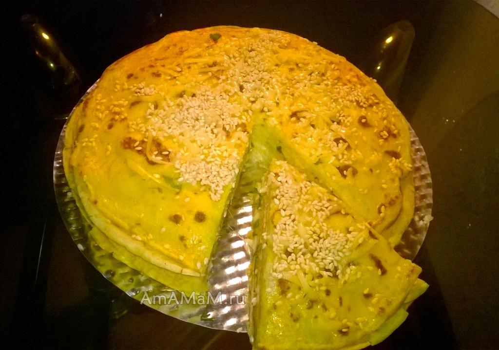 Приготовление блинного пирога - рецепт и пошаговые фото