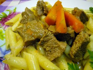 Рецепт  простого ужина с блюдом из говядины