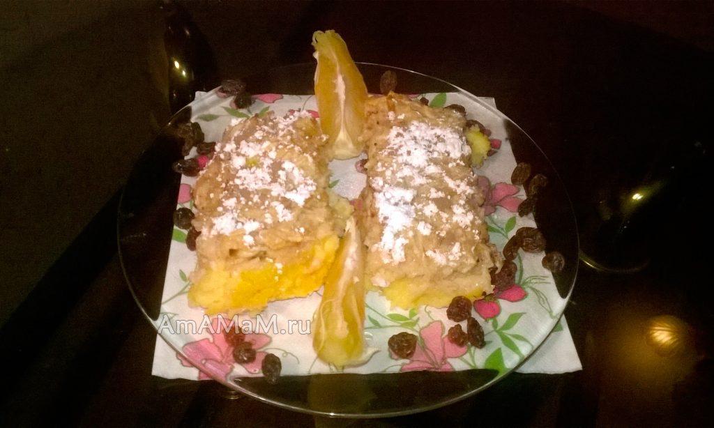 Восточные десерты - пудинг с яблоками и апельсинами