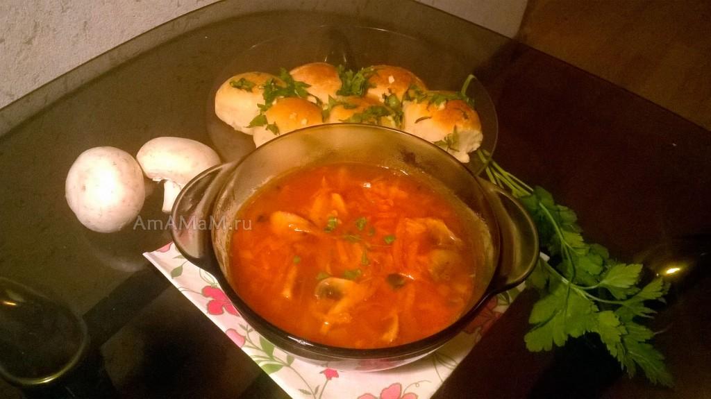 Борщ постный с грибами рецепт пошагово фото