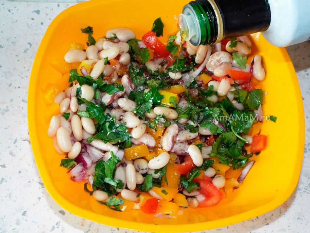 Способ приготовления салата из белой фасоли с черным глазком Мавроматика