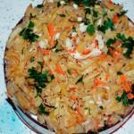Рецепт блюда из кальмаров, перца, лука и картофеля