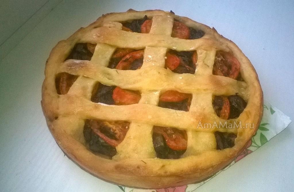 Картофельный пирог с грибами и помидорами - постный рецепт