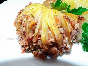 Рецепт запекания картофеля с гречневой кашей и орехами - вкусные постные рецепты