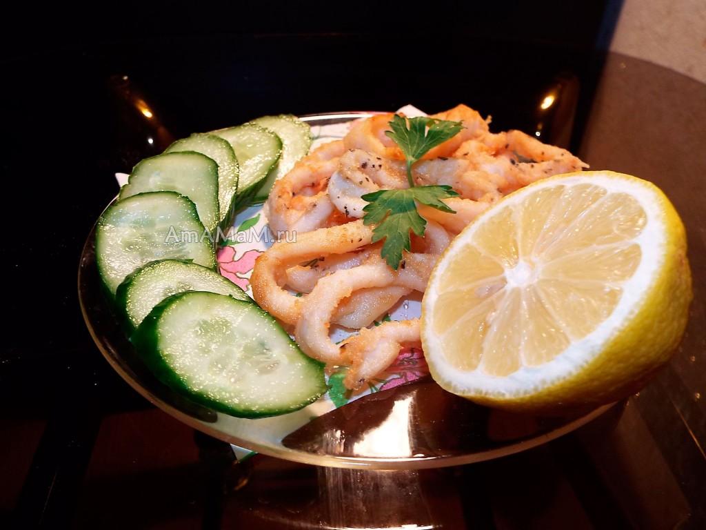 Рецепт колечек кальмара, жареных в масле
