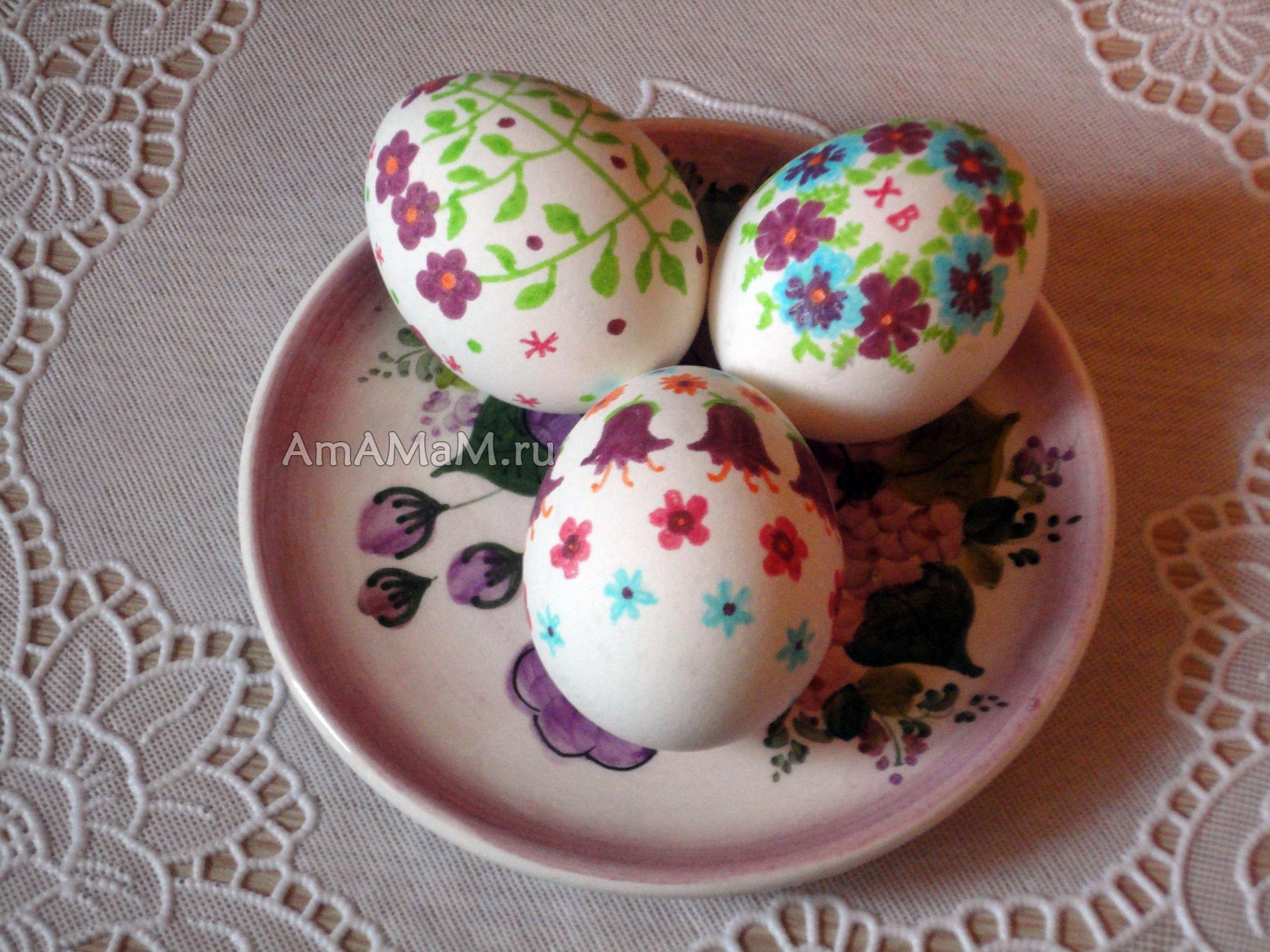 Роспись пасхальных яиц: рисуем цветы