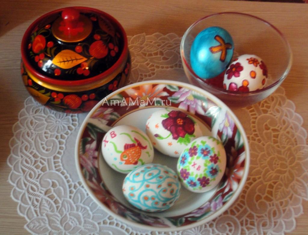 Цветочные орнаменты и рисунки на пасхальных яйцах - фото