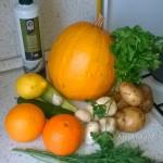 Фото и рецепт запеченных овощей с апельсинами и грибами