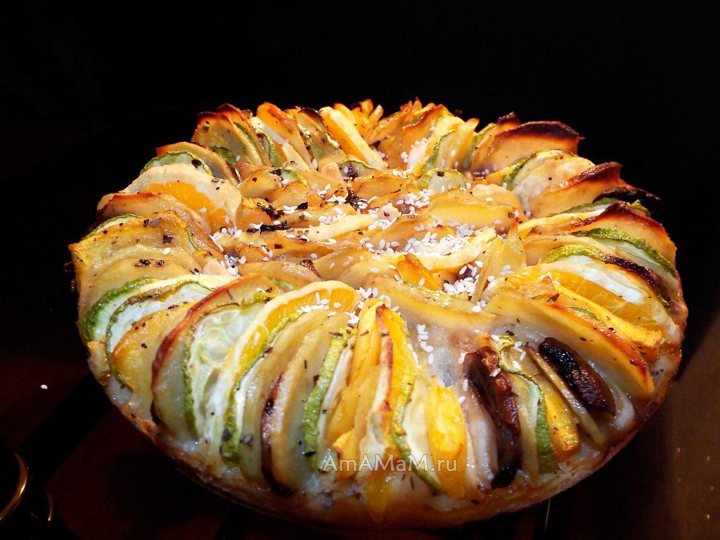 Рецепты овощей в духовке - пирог с тыквой, кабчками, картофелем и апельсинами