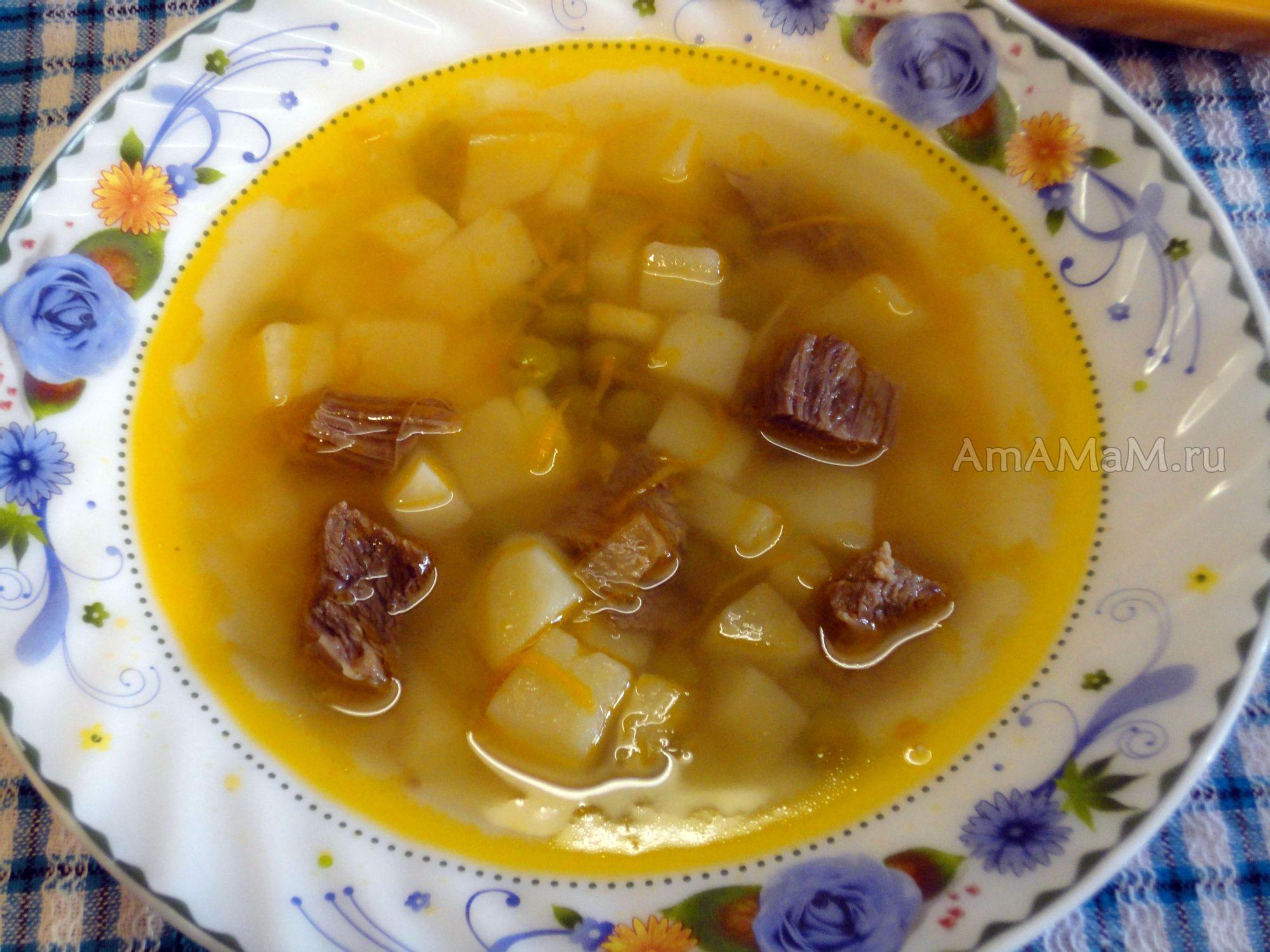 Рецепт супа с консервированным горошком на говяжьем бульоне с картофелем