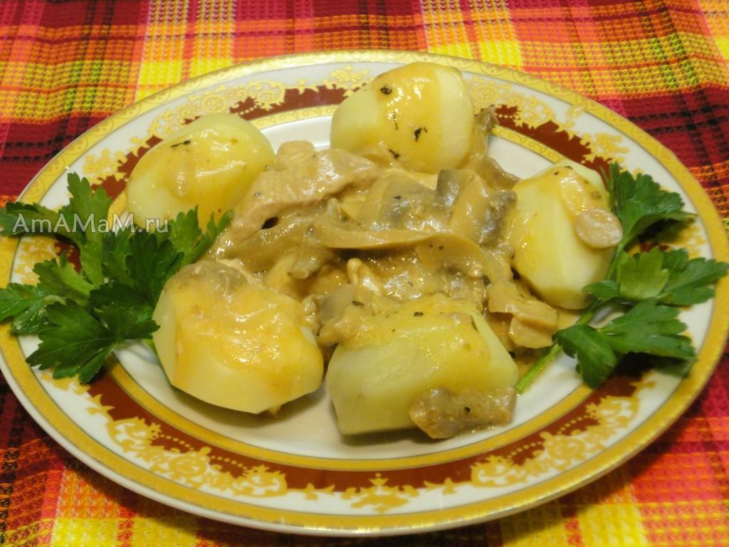 Свинина с картошкой  и грибвми- рецепт с фото
