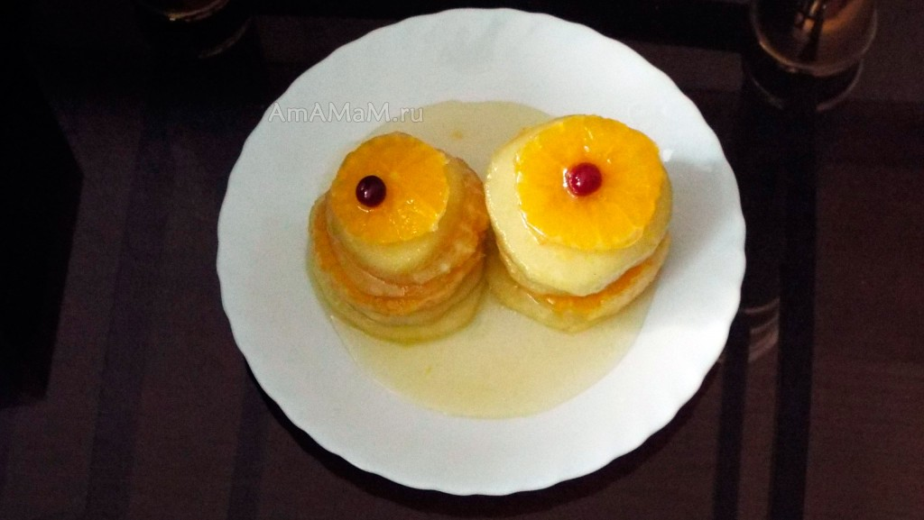 Рецепт фруктового десерта - яблоки и апельсины в сахаре