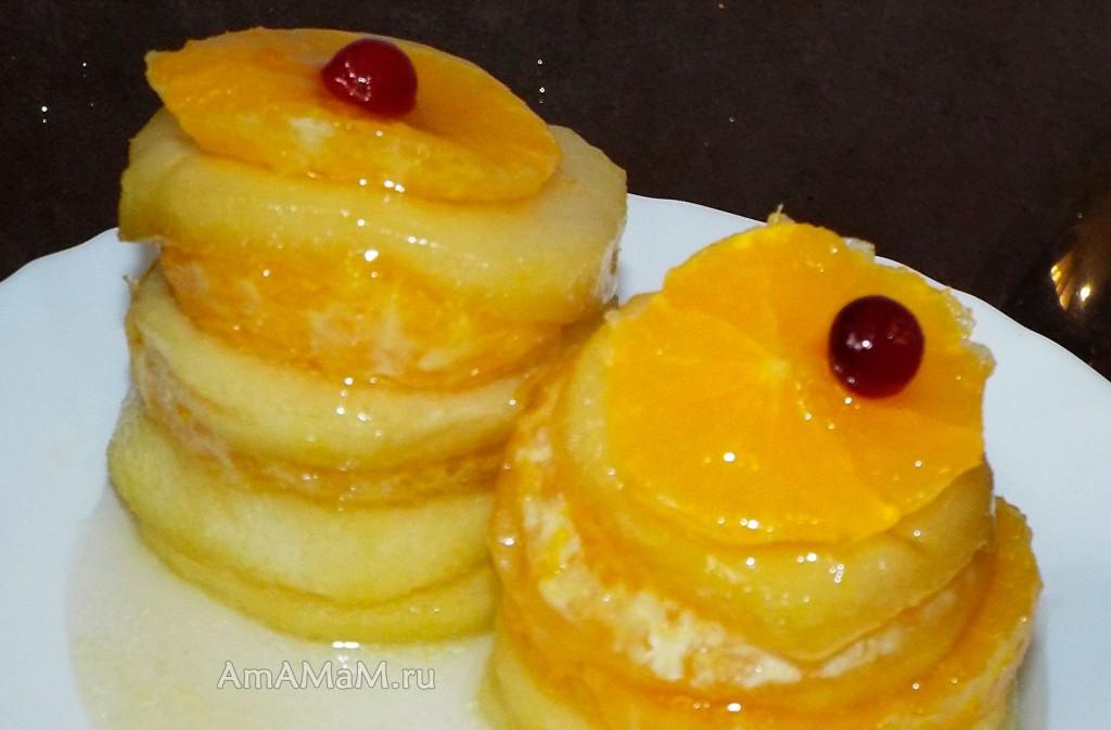 Яблочно-апельсиновый десерт  - фрукты в сиропе