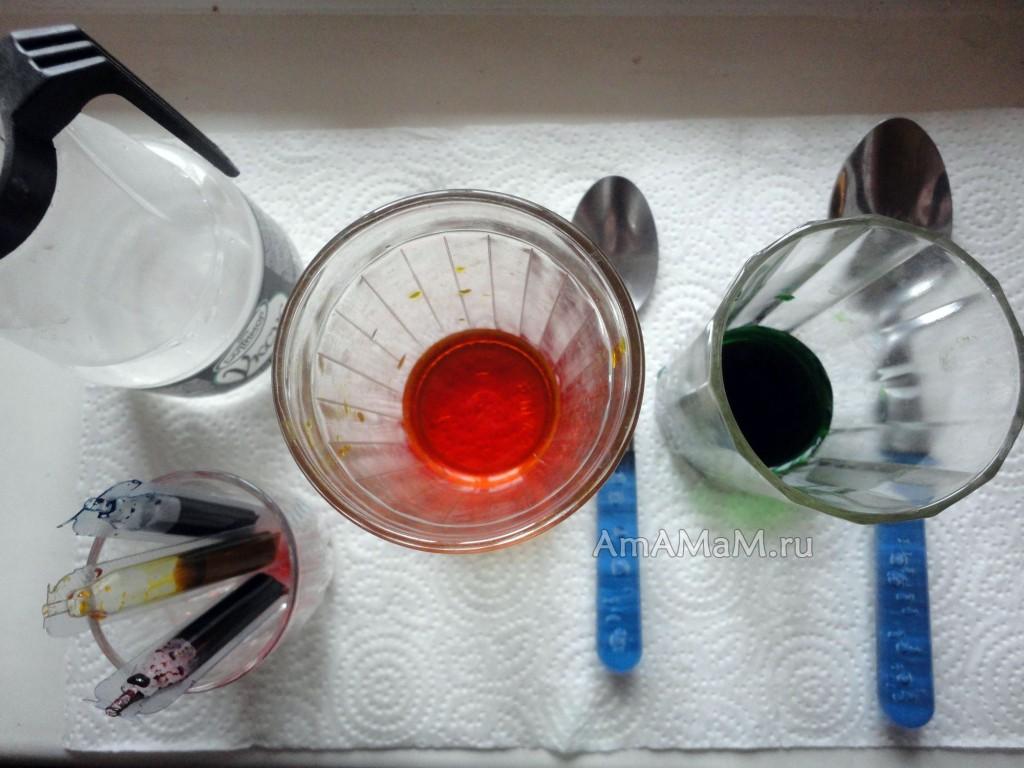 Фото набора посуды для окраски яиц пищевыми красителями (жидкими)