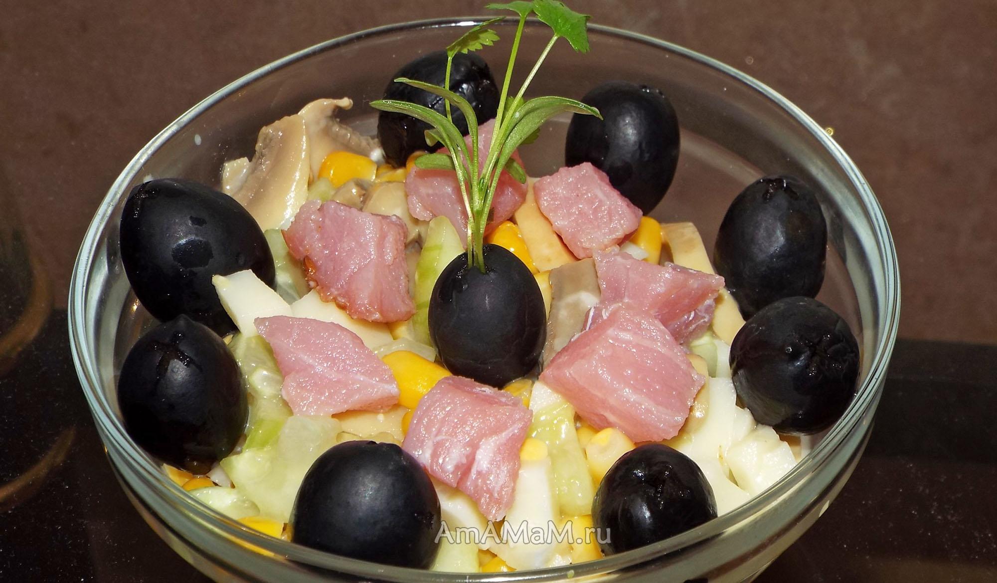 вкусный салат с грибами и кукурузой рецепт