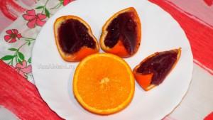 Десерт из аплеьсина с вареньем - жжеле в формочках из аплеьсина