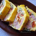 Омлет в духовке (сыр-ветчина-болгарский перец)