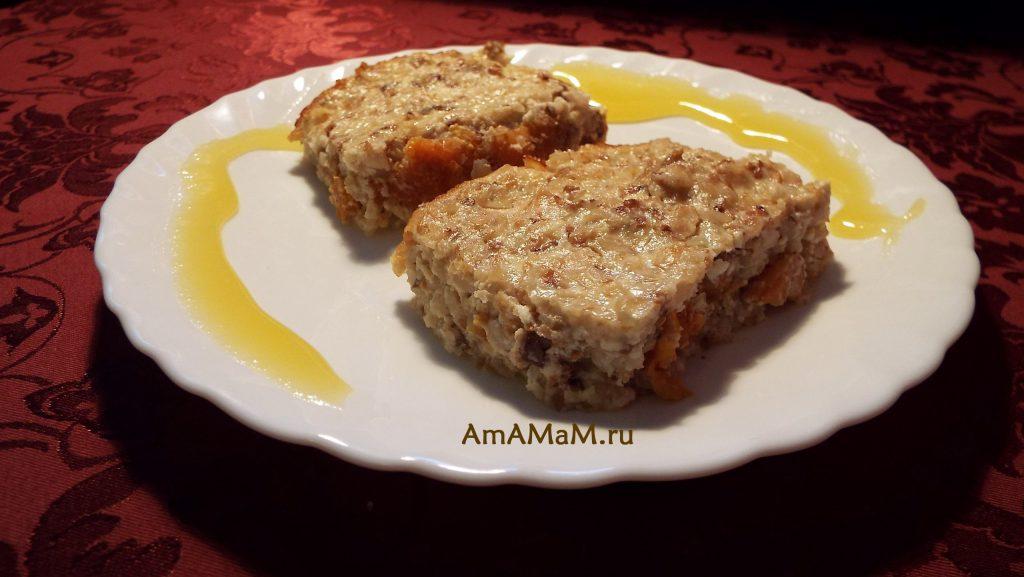 Приготовление сладких крупяных десертов - гречаник с творогм, медом и курагой