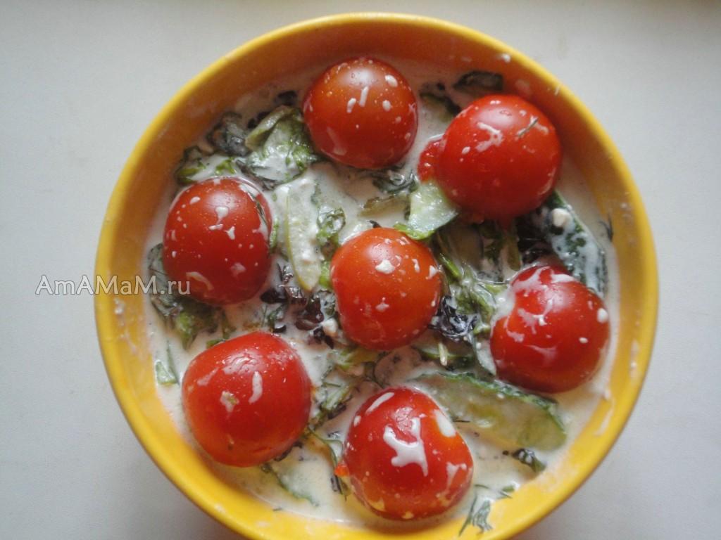 Блюда с фетой - овощной салат с листовым салатом