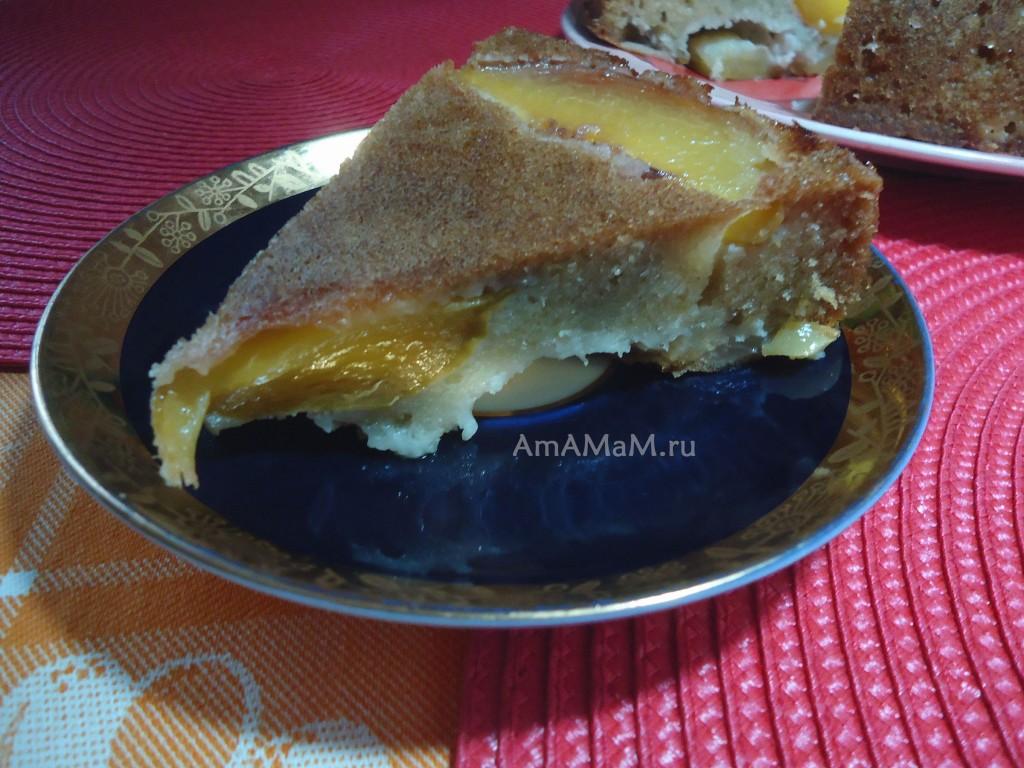 Пирог из персиков свежих или консервированных
