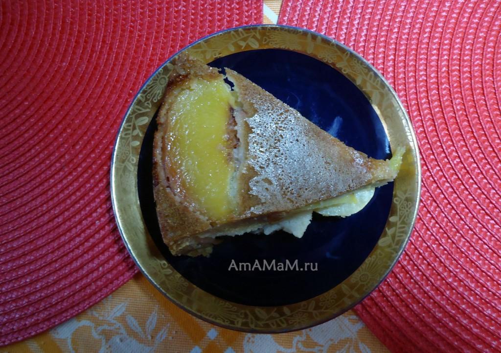 Яблочно-персиковый пирог - простой рецепт