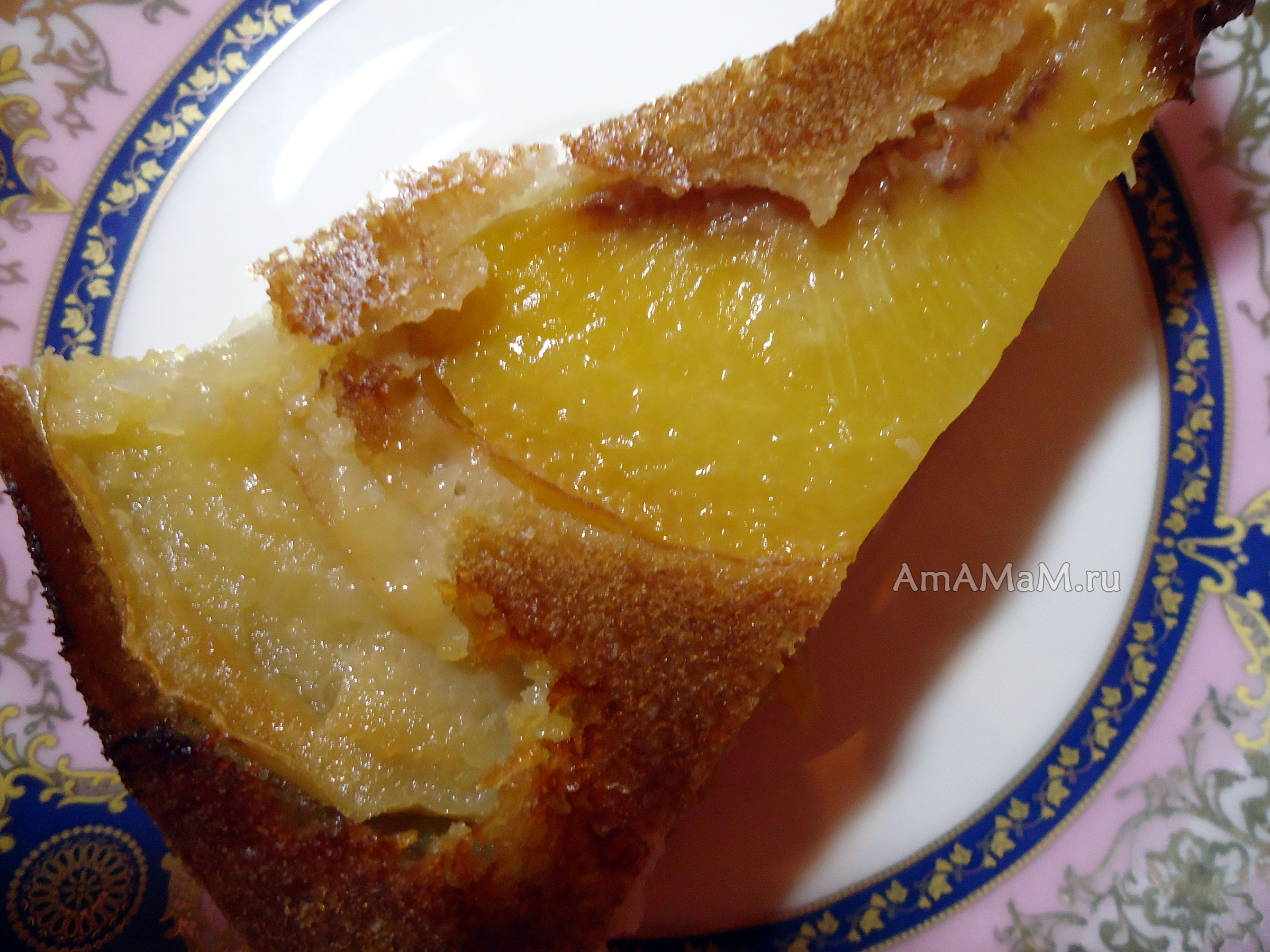 Бисквит с персиками консервированными рецепт с фото