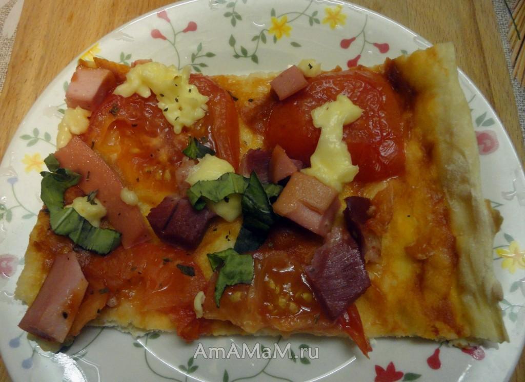 Рецепт пиццы с плавленым сыром на домашнем тесте