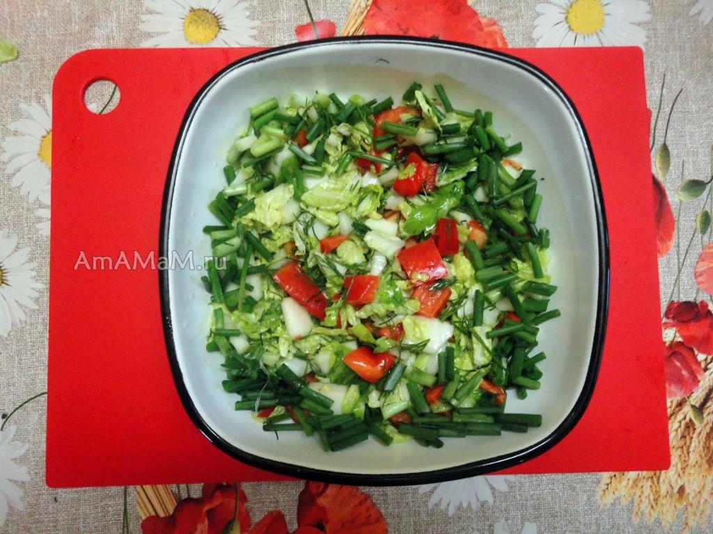 Простой и вкусный салат на скорую руку из овощей с яблоком
