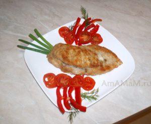 Отбивная куриная фаршированная сыром и грибами