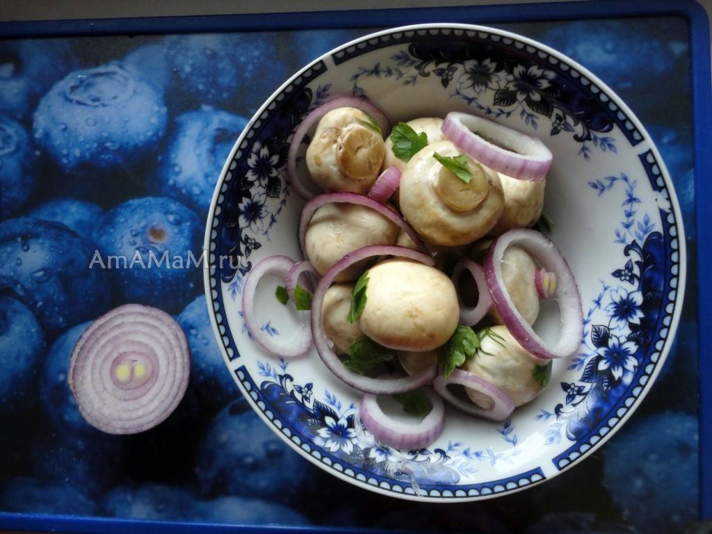 Как приготовить грибы шампиньоны - рецепт малосольных