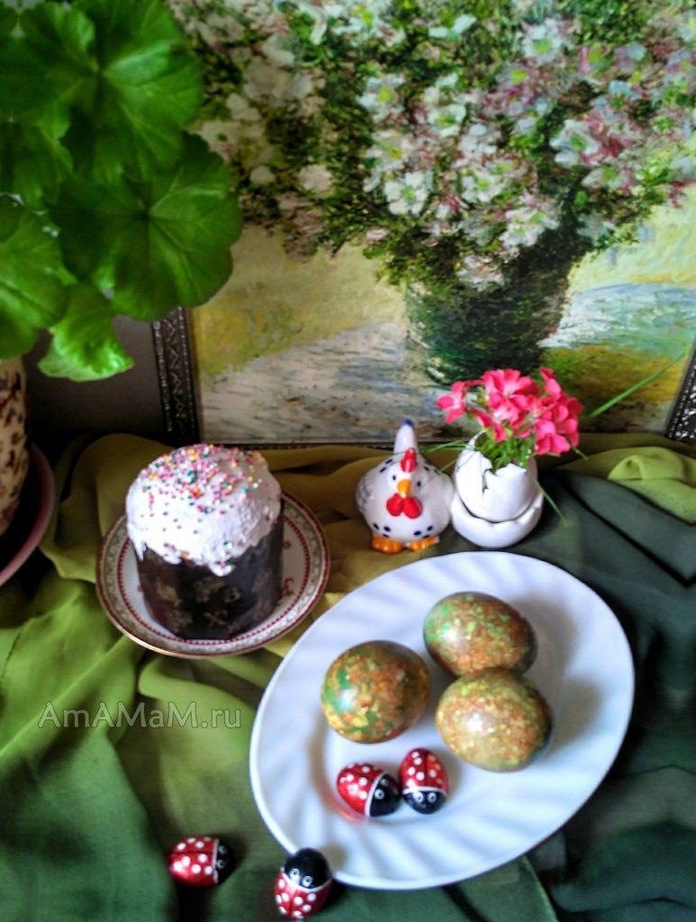 Мраморные яйца - пасхальные открытки
