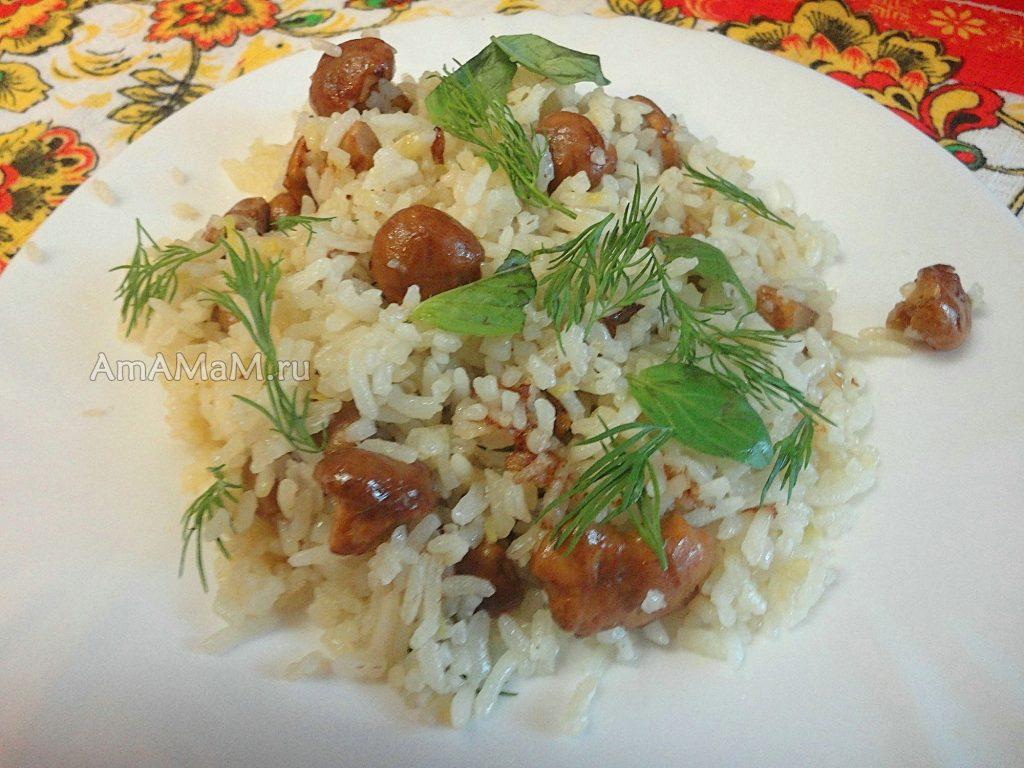 Рис с лисичками - рецепт и фото
