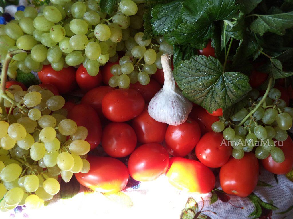 Виноград, помидоры, чеснок, специи