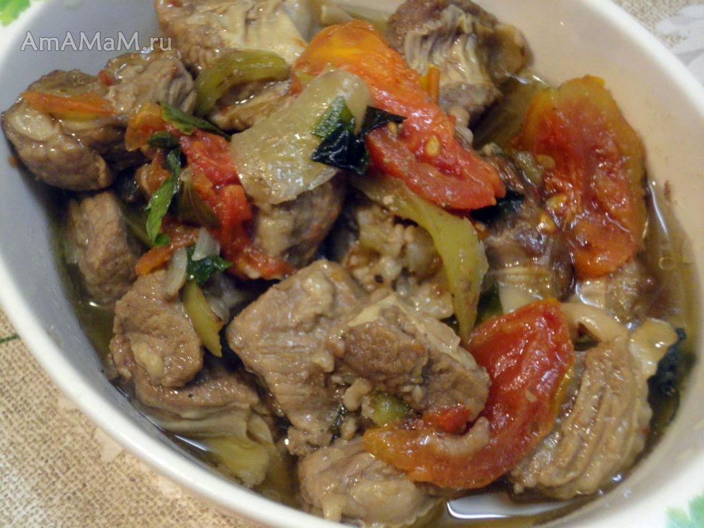Диафрагма с овощами - рецепт приготовления