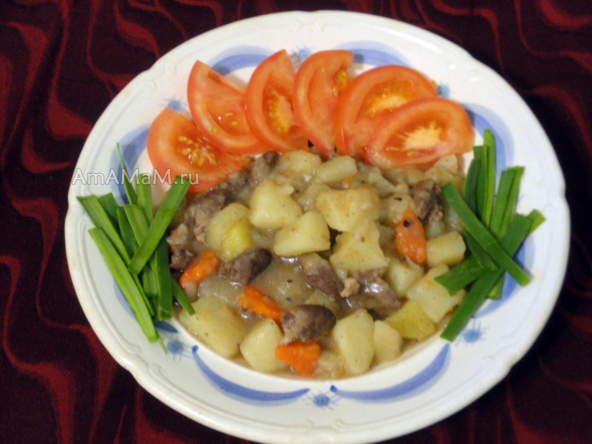 желудки куриные с картошкой в духовке рецепт с фото