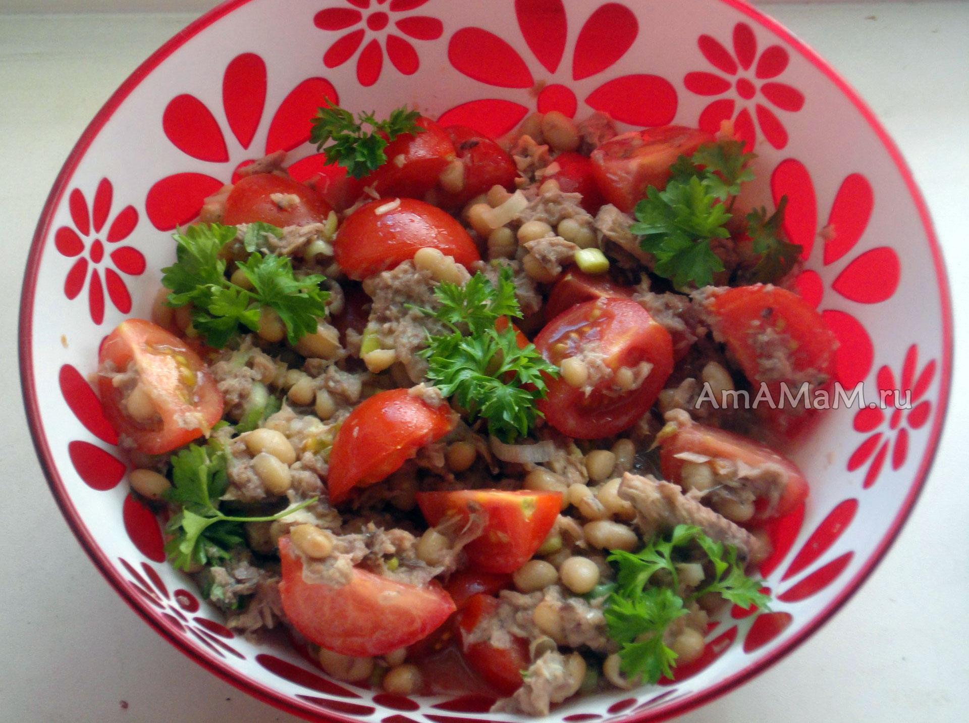 салат из тунца консервированного рецепт с фасолью