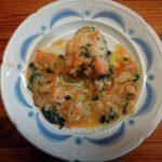 Минтай тушеный с овощами под соусом