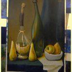 Картина с картиной (натюрмортом с бутылками, грушами и яблоком