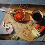 Закуска на газете - килька, сырок и чай