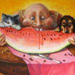 Мужчина, кот и пес вгрызаются в арбуз, аж косточки летят!