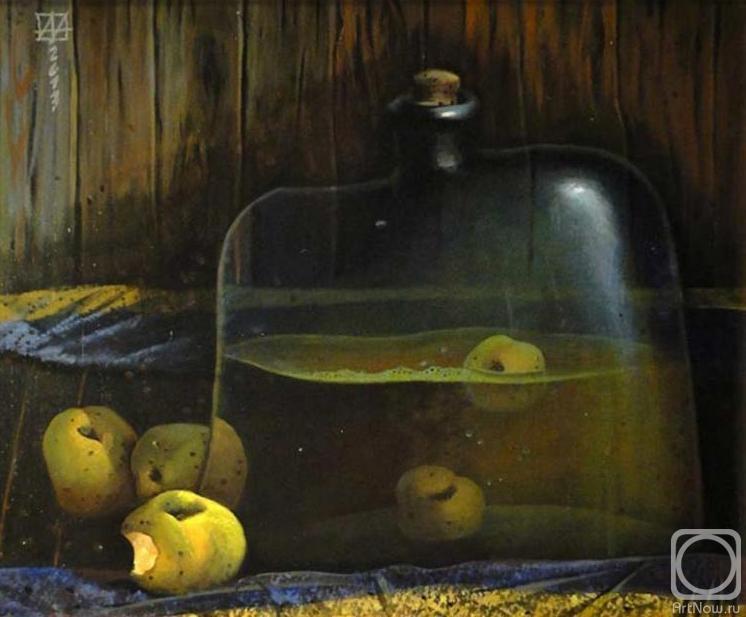 Натюрморт с яблоками и яблочным сидром