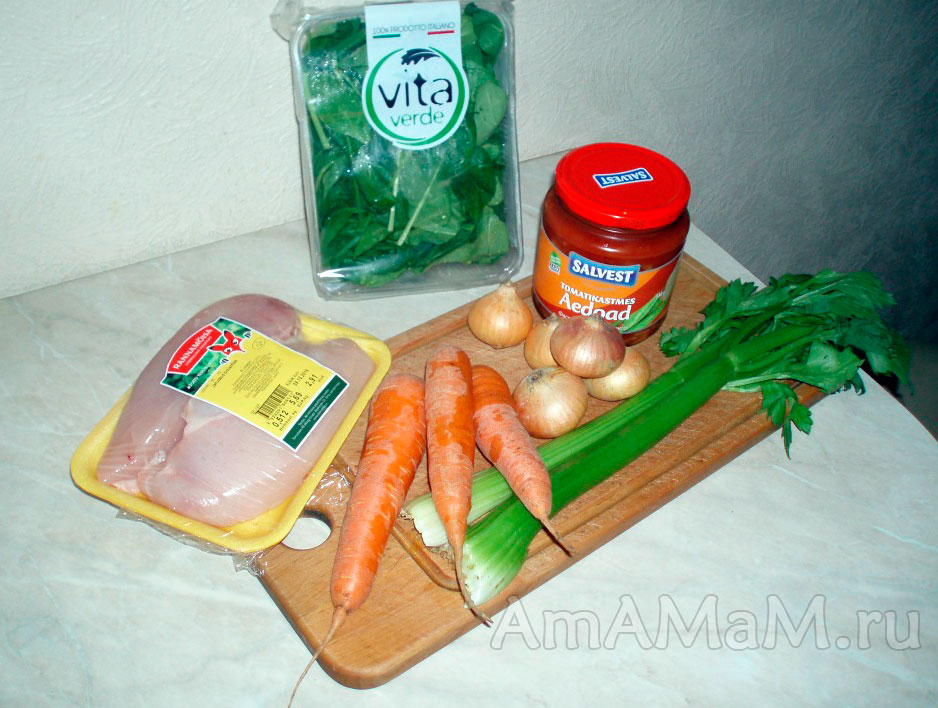 Ингредиенты супа типа Минестроне, но с фасолью
