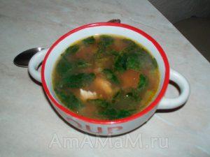Рецепт супа из фасоли, сельдерея и шпината с фото