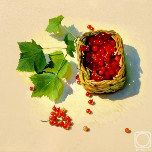 Картина с лукошком красной смородины