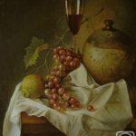 Натюрморт с виноградом, лимоном и бокалом красного вина