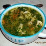 Суп-лапша с говядиной, кореньями и грибами