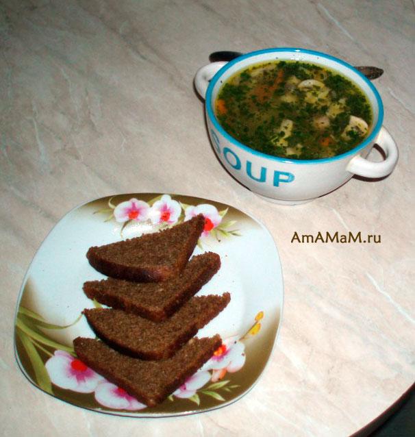 Суп-лапша с хлебом