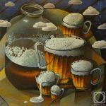 Пивные кружки разного размера с пеной и банка пива 3 л