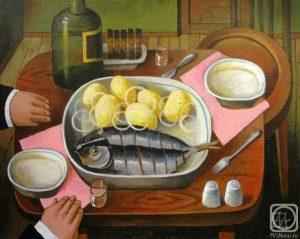 Вкусная еда на картинках художника Андринова - селедка и картошка